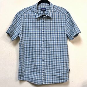 Patagonia men's organic cotton Blue plaid shirt L